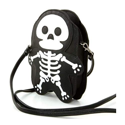Sleepyville Critters Faux Leather Halloween Skeleton Crossbody Shoulder Bag -