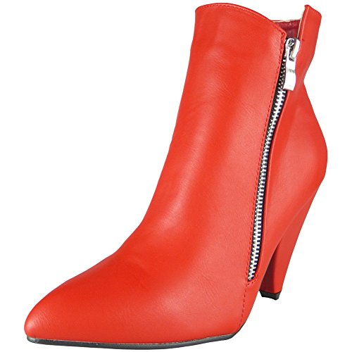 Loud Look Womens Ladies Zip Mid Heel Work Ankle Office Pointy Toe Boots Party Shoes Size 3-8 Red
