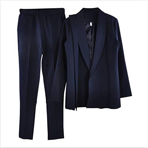 Pantaloni Da E Cintura V Comradesn Scollo Giacche Con Cappotti Pezzi A Giacca Blue Navy Due Ufficio Donna 2 Tuta pA7wq1