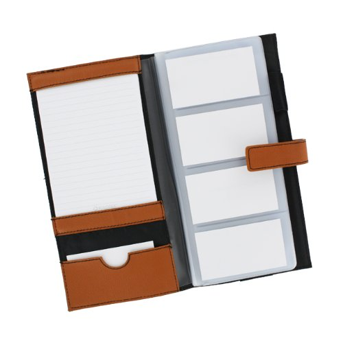 Rolodex 63060 Rolodex Weave Business Card Book, 96 Cap., Faux Leather, Camel Photo #2