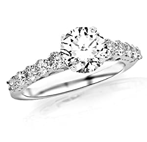 1.4 Carat Classic U Prong Diamond Engagement Ring 14K Black Gold with a 0.75 Carat H-I SI1-SI2 Round Brilliant Cut/Shape Center