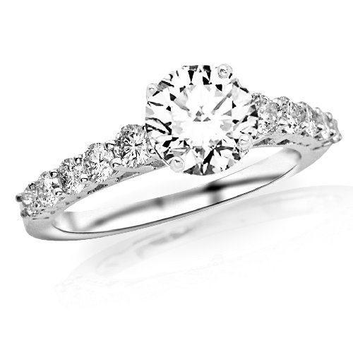 1.5 Carat Classic U Prong Diamond Engagement Ring 14K White Gold with a 0.85 Carat I-J I2 Round Brilliant Cut/Shape Center