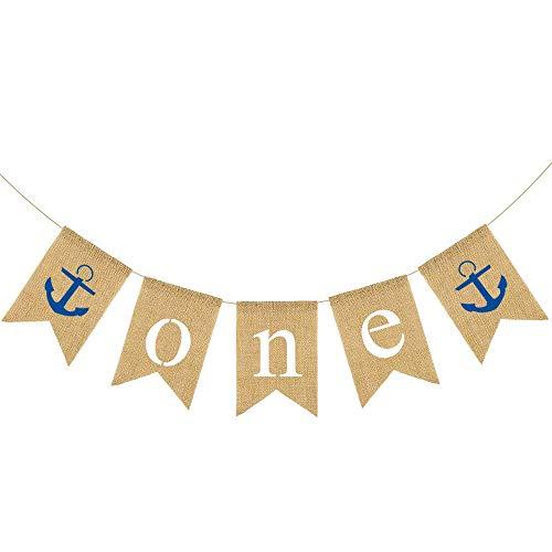 Rainlemon Nautical Boy 1st Birthday High Chair Banner Anchor Sailor One Highchair Bunting Garland Decoration -
