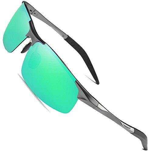 MOTELAN Men's Polarized Sunglasses for Driving Fishing Golf Metal Glasses UV400 (Mens Green Sunglasses)