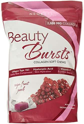 NeoCell - Beauty Burst - Super Fruit Punch - 2, 000mg Collagen Type 1&3 + Hyaluronic Acid & Vitamin C for Strong & Hydrated Hair, Skin, Nails; Gluten-Free, Soy-Free - 90 Soft Chews