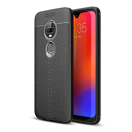 Olixar Leather Back Case Compatible with Motorola Moto G7 / G7 Plus - Protective Back Cover - Shock Absorption - Leather Style - Wireless Charging Compatible - Attache - Black