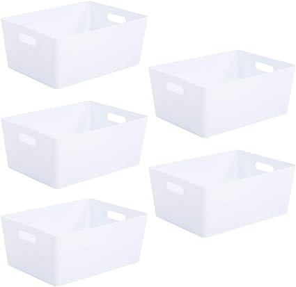 White Plastic Storage Baskets 35 x 26 x 15cm (5 Baskets)