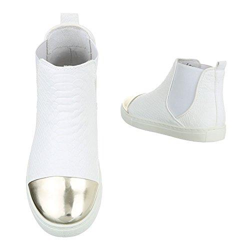 Ital-Design Chelsea Boots Damenschuhe Moderne Stiefeletten Weiß L6206