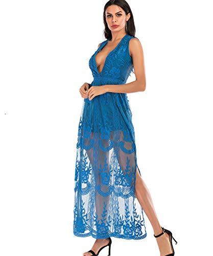 BOMBAXCEIBA Women's Blue Low Neckline Lace Maxi Dress Embroidered Romper Short Sleeve (XL, Blue1) ()