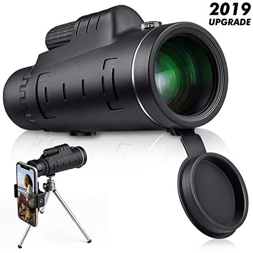 Monocular Telescope High Power 40×60 – CE Optics High Powered BAK4 45 Degree Angled Eyepiece Telescope with Smartphone Tripod and Mount Adapter for Target Shooting, Birdwatching, Wildlife Scenery