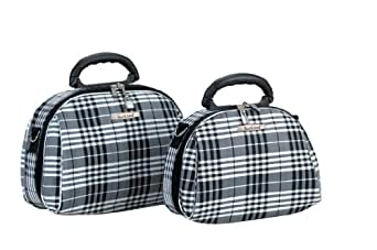Rockland Luggage Rockland 2 Piece Cosmetic Set, Black Cross Plaid, One Size