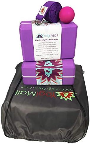 YogiMall Yoga Blocks 5-in-1 Yoga Kit - 2 Yoga Blocks, Strap, Carry Bag and Massage Ball. Must-Have Yoga Set for Every Yogi. High Density EVA Foam Blocks Helps to Improve Your Poses & Flexibility.