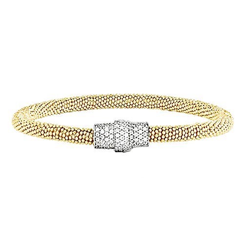 Designs by Nathan Sterling Silver Mesh Magnetic Clasp Bracelet, in Several Colors (14k Yellow Gold Plated, Small Size) by Designs by Nathan