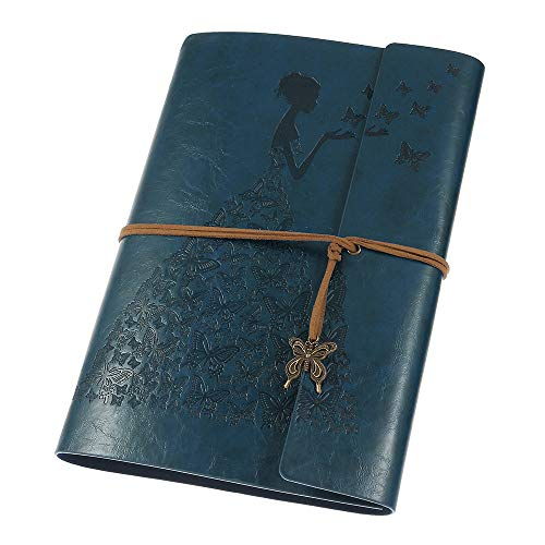 Leather Journal, Vintage Spiral Refillable Notebook Sketchbook Butterfly Journal to Write in for Women Girls Gifts