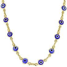 "18k Gold Plated Turkish Nazar Greek Blue Evil Eye Protection Necklace 17"""