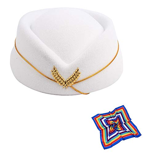 (TDAICHAN Wool Felt Stewardess Hat Cosplay Cap-Flight Attendant Gorra for Costume Accessories Beret (White with Silk))