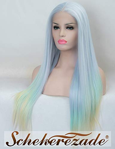 3 Tone Ombre Blue Lace Front Wig Straight Sky Blue Synthetic Wigs for Women Mint Green Ombre Light Blonde Mix Color Scheherezade Glueless Long Free Parting Hair Heat Resistant