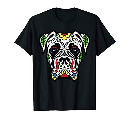 (Boxer In White - Dead Sugar Skull Dog T-Shirt)