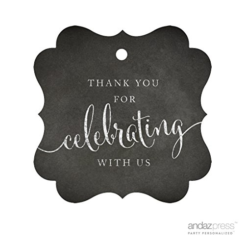 ame Gift Tags, Thank You For Celebrating With Us, Chalkboard, 24-Pack, For Baby Bridal Wedding Shower, Kids 1st Sweet 16 Quinceanera Birthdays, Anniversary, Graduation, Baptism, Christening, Confirmation, Communion Party Favors, Gifts, Boxes, Bags, Treats and Presents (Bottle Labels Templates)