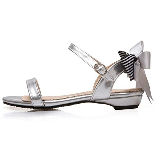 TAOFFEN Women Casual Summer Slingback Ankle Strap Buckle Flat Sandals with Bowtie Silver LZzAiLi