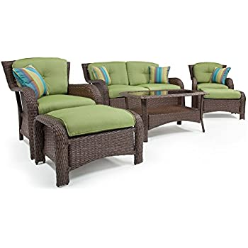 this item lazboy outdoor sawyer 6 piece resin wicker patio furniture set cilantro green with all weather sunbrella cushions