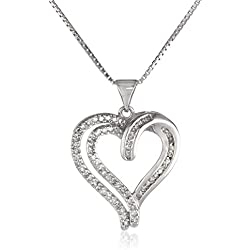 "Sterling Silver 1/3 Cttw Diamond Heart Pendant Necklace, 18"" (1/3 Cttw, J Color, I3 Clarity)"