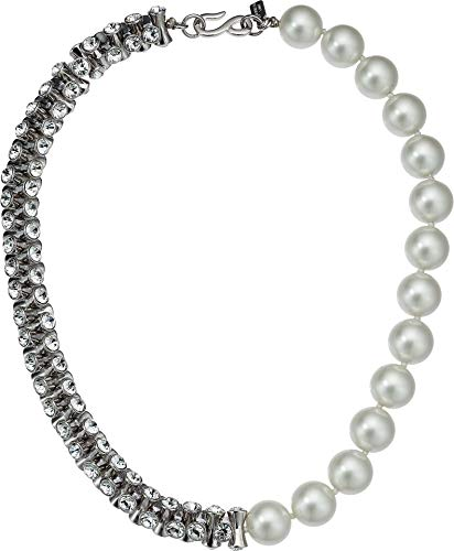 Kenneth Jay Lane Women's 1/2 Light Cultura Pearl 1/2 Rhodium/Crystal Hourglass Bead Necklace Light Cultura One - Crystal Kenneth Pendants Lane Jay