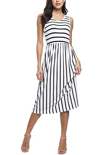 INWECH Women's Sleeveless Elastic Waist Casual Striped Party Dress Summer Midi Flowy Dress with Pockets (White 1, Medium)