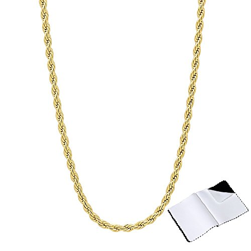 Link Rope Gold (The Bling Factory 2.4mm 14k Gold Plated Braided French Rope Twisted Link Chain Necklace, 24