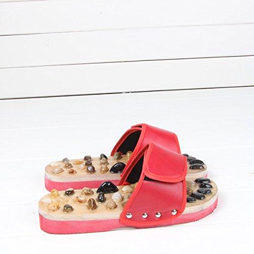 Direct 37 Chaussures Red Jade Home Red Massage Summer Pantoufles Nouveau Pebbles Pantoufles Massage Factory 37 BH6xv