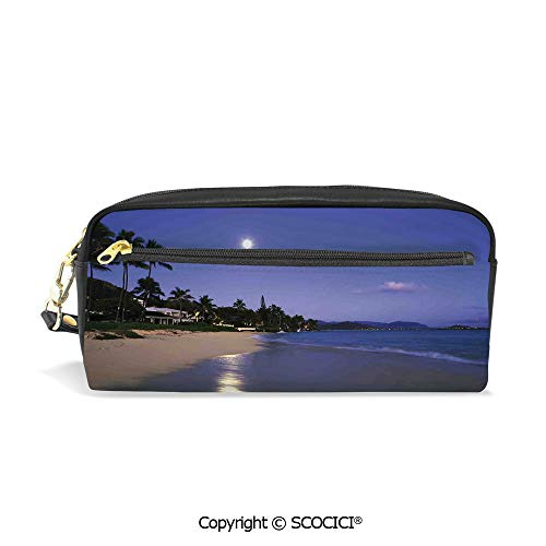 Students PU Pencil Case Pouch Women Purse Wallet Bag Houses Clear Sky Full Moon and Moonlight Reflection at Daybreak on a Hawaii Beach Waterproof Large Capacity Hand Mini Cosmetic Makeup Bag (Epi Leather Billfold)