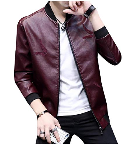 Winwinus Men's Windproof Mandarin Collar Embroidered Faux Leather Jackets Wine Red ()