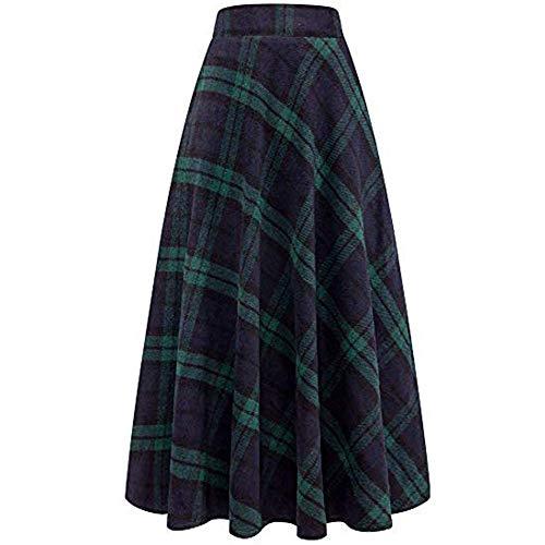 (Kehen Women Winter Warm Elastic Waist Wool Plaid A-Line Pleated Long Skirt Green Small (US:4))