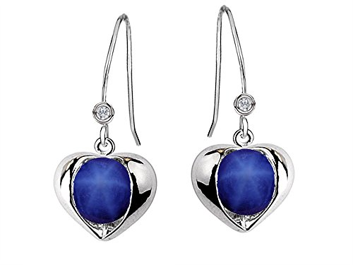 Star K Round 6mm Simulated Star Sapphire Heart Hook Earrings (Womens Blue Star Sapphire Rings)
