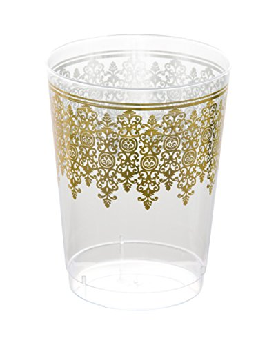 Posh Setting Clear 10 oz. plastic Tumblers (cups) with Gold Ornament Design 40 Pack