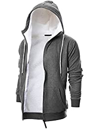 Mens Slim Fit Long Sleeve Thermal Faux Fur Zip-up Hoodie with Kanga Pocket