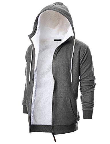 Faux Fur Hoody Hoodie Sweater - GIVON Mens Slim Fit Long Sleeve Thermal Faux Fur Zip-up Hoodie With Kanga Pocket/DCF016-DEEPGREY-M