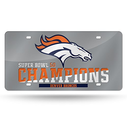 Rico Industries NFL Denver Broncos Super Bowl 50 Champions Laser Cut Auto Tag, Silver,12-Inch by 6-Inch,Silver Denver Broncos Silver Laser