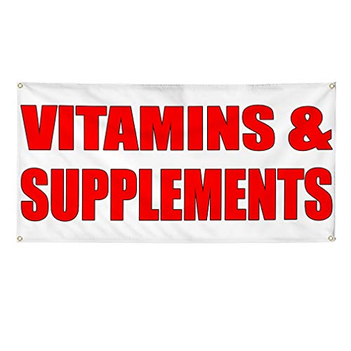 Vinyl Banner Sign Vitamins and Supplements White Red Marketing Advertising White - 60inx144in (Multiple Sizes Available), 10 Grommets, Set of 3