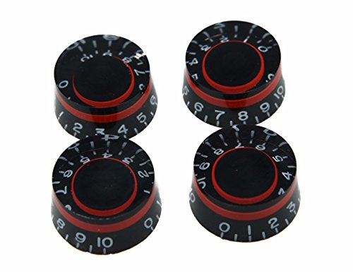 Dopro 4pcs Black with Red Custom Guitar Speed Dial Knobs Control Knob fits LP Guitar