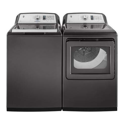 GE Top Load Smart GTW750CPLDG 27'' Washer with GTD75ECPLDG 27'' Electric Dryer Laundry Pair in Gray by GE Products