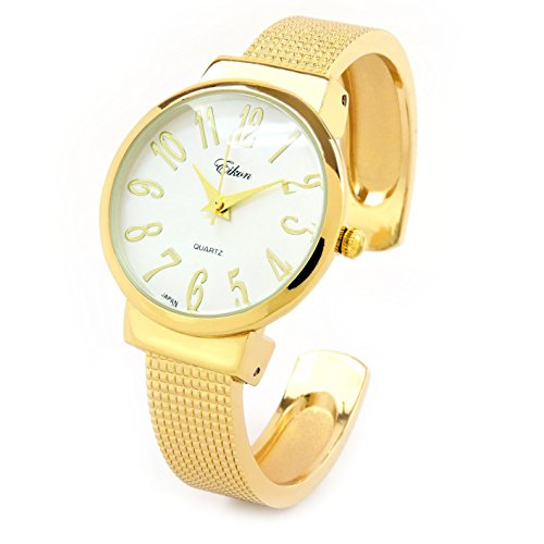 Gold Mesh Style Band Large Dial Easy to Read Women's Bangle Cuff Watch