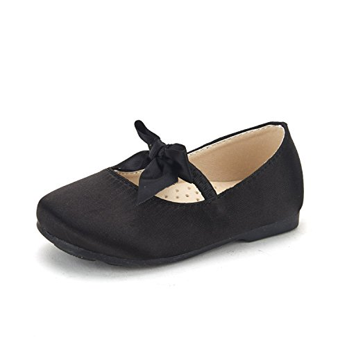 DREAM PAIRS SOPHIA-22 Adorables Mary Jane Front Bow Elastic Strap Ballerina Flat Toddler New Black Size -