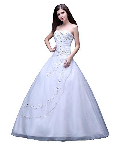 Weiß Abendkleid Beaded Damen Kmformals trägerlosen langen Prom Kleid formellen qpO8R8wfx