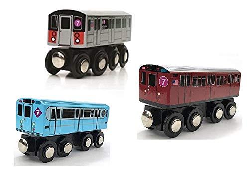 (Munipals Wooden MTA NYC New York City Subway 7 Train Three Car Set 7 Seven Line Set)