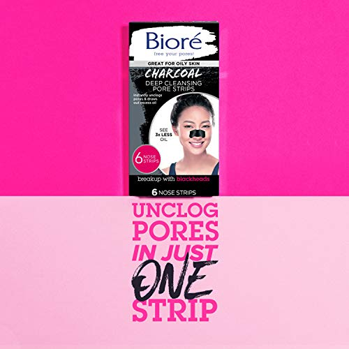 Bioré Charcoal, Deep Cleansing Pore Strips, 6 Nose Strips for Blackhead Removal on Oily Skin, with Instant Blackhead… 6