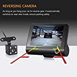 1080P Full HD Dash Cam,Vehicle Video Recorder Dash Cam 4Inch 3 Lens Car DVR Rearview Camera Night Vison,G-sensor,170° Wide Angle, Automatic Record,Support 32 GB TF card(Not Included)
