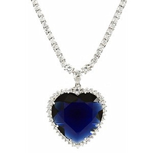 Eves Couture Sparkling Quality Swarovski Crystal Titanic Realistic Replica Blue Heart of The Ocean Necklace Pendant with Chain Perfect Gift Titanic Style Jewelry - Skin Safe Metal
