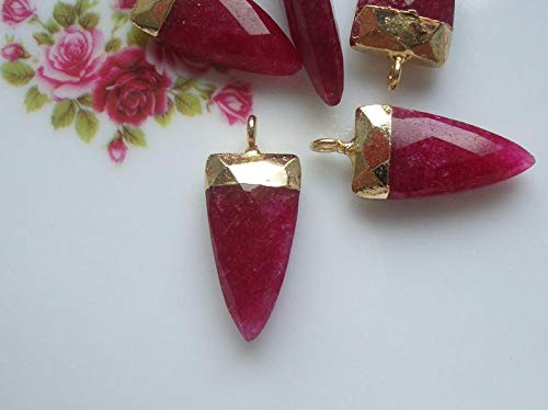 CP-0057 Gold Electroplated Horn Pendant Finding 25x10mm Dyed Ruby Gold Horn Pendant
