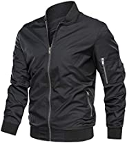 TACVASEN Men's Jacket-Lightweight Casual Spring Fall Thin Bomber Zip Pockets Coat Out
